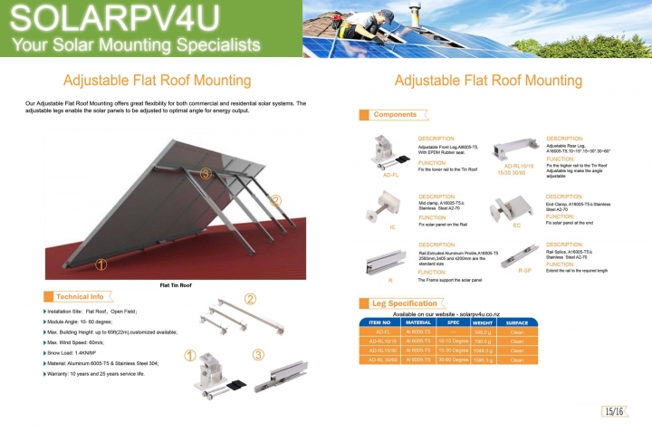 Adjustable Flat Roof Solar Mounting - Overview