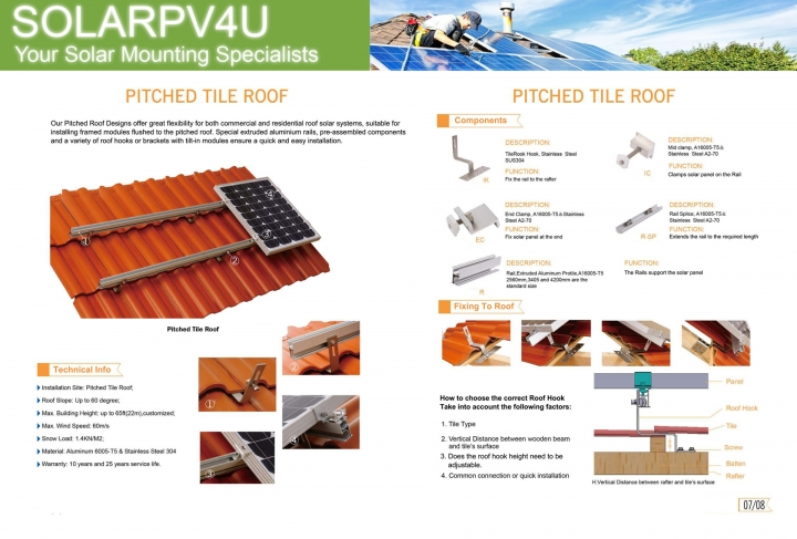 Pitched Roof Solar Mounting - Tile Roof