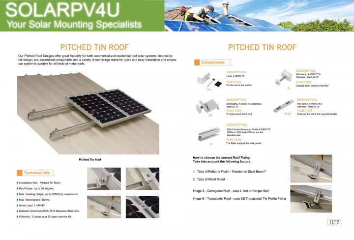 Pitched Roof Solar Mounting - Tin Roof