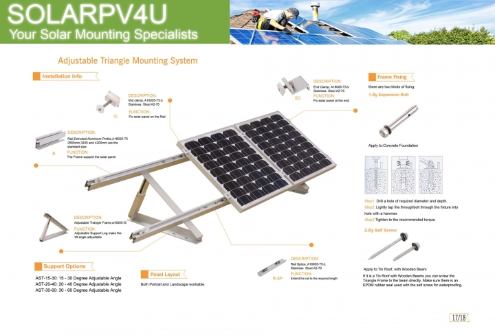 Triangle Tilt Solar Roof Mounting - Adjustable Angle